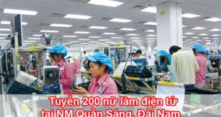 Tuyển 200 nữ làm điện tử tại NM Quần Sáng, Đài Nam
