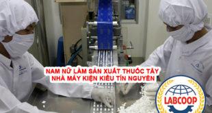 Nam nữ làm sản xuất thuốc tây tại nhà máy Kiện Kiều