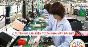 Nữ làm điện tử tại nhà máy Đài Đạt